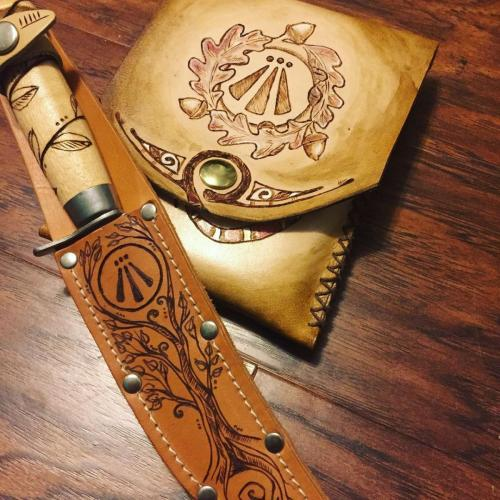Leather knife sheath and leather journal case.