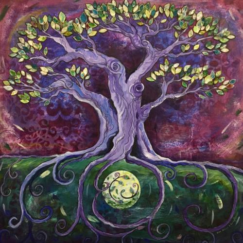 Mixed Media Moon tree