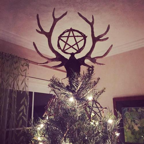 Pentacle and Stag Yule Tree Topper