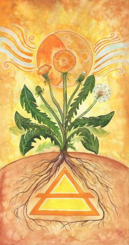 "Air Elemental Banner, part of a set of four painted specifically for the MAGUS OBOD Gathering 2020.  The final painted size 10"" x 20"", printed size for MAGUS 2020 Gathering is 3' wide by 6' high).  Aur element banner focusing on the waning, and dandelion plants."