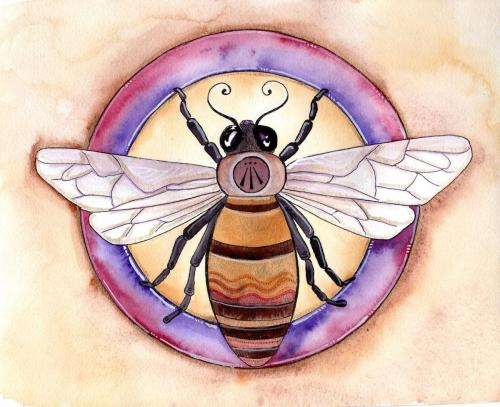 """Awen and the Bee.  14x11"""" Watercolor and ink on watercolor paper with gold leaf."""