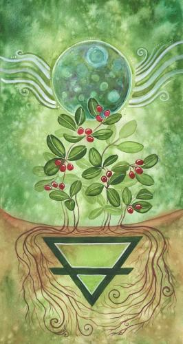"Earth Elemental Banner, part of a set of four painted specifically for the MAGUS OBOD Gathering 2020.  The final painted size 10"" x 20"", printed size for MAGUS 2020 Gathering is 3' wide by 6' high).  Earth element banner focusing on the dark moon, and wintergreen plants"