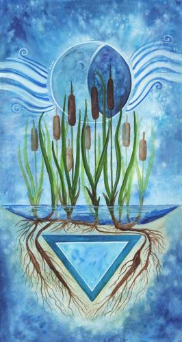 "Water Elemental Banner, part of a set of four painted specifically for the MAGUS OBOD Gathering 2020.  The final painted size 10"" x 20"", printed size for MAGUS 2020 Gathering is 3' wide by 6' high).  Water element focusing on the waning moon, and cattail plants."