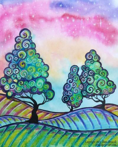 watercolor pencil tree
